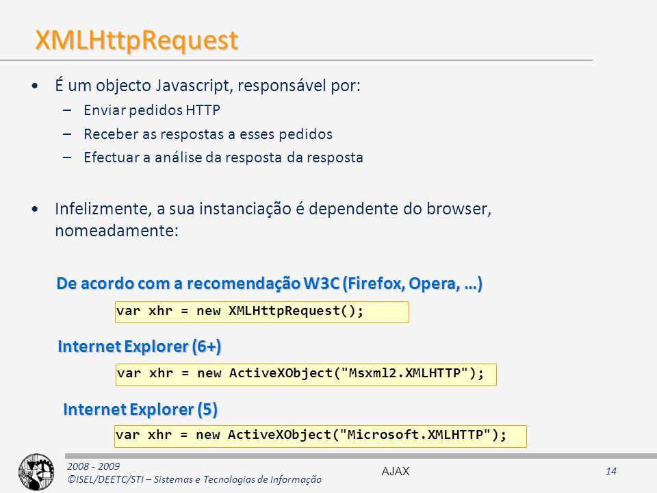 XMLHttpRequest É um objecto Javascript, responsável por: