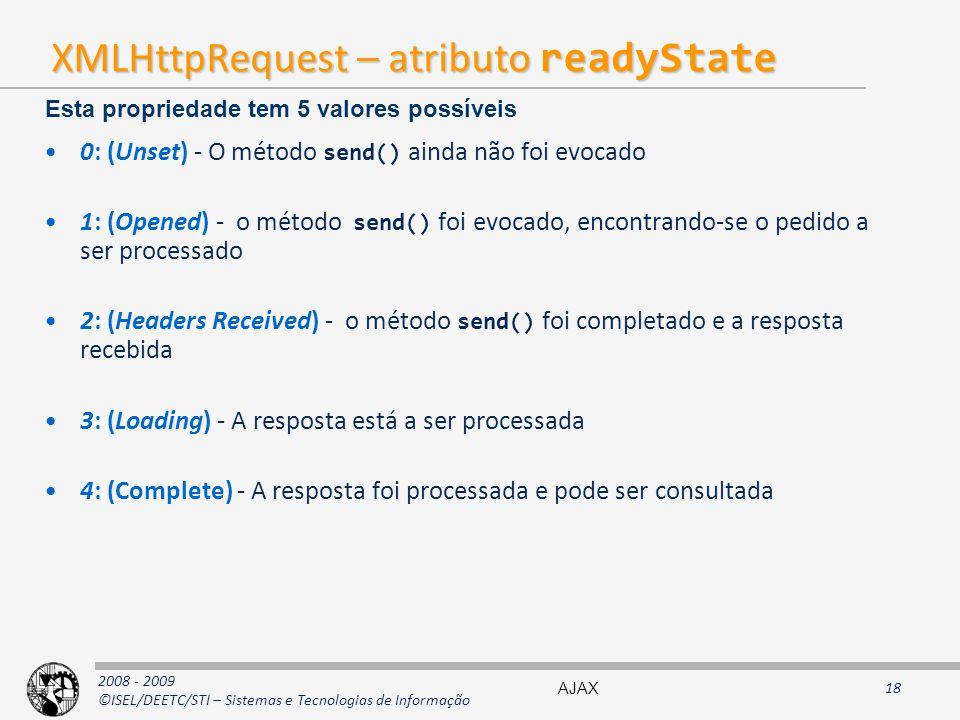 XMLHttpRequest – atributo readyState