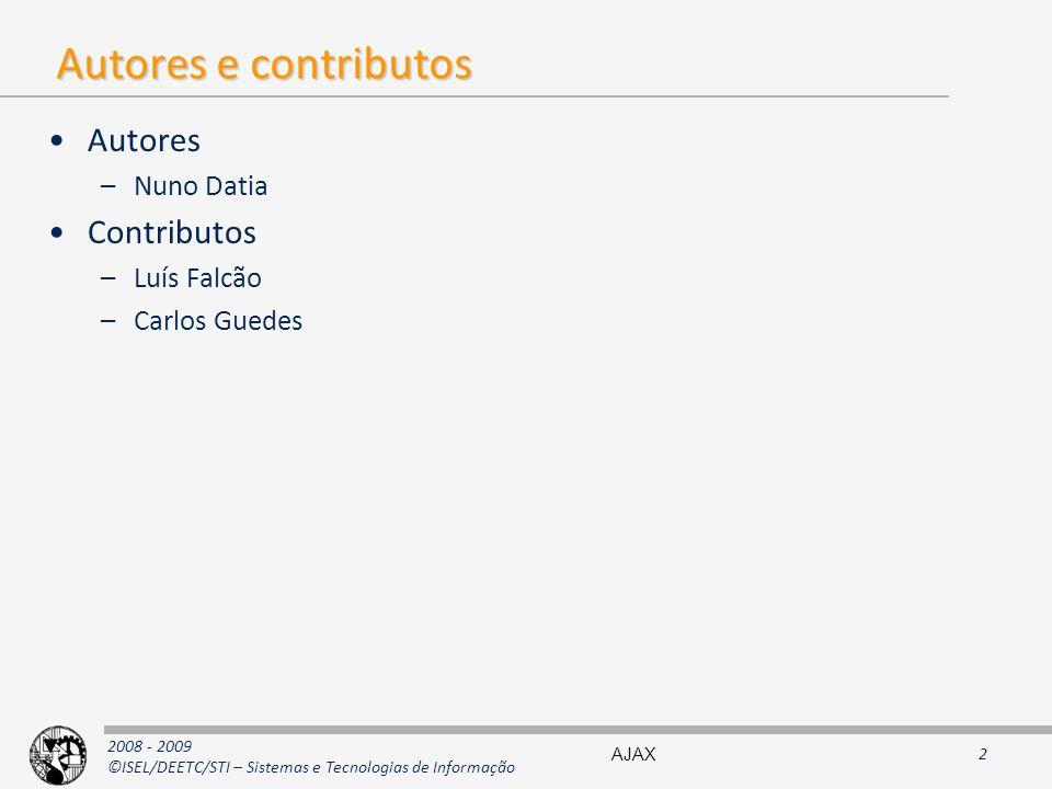 Autores e contributos Autores Contributos Nuno Datia Luís Falcão
