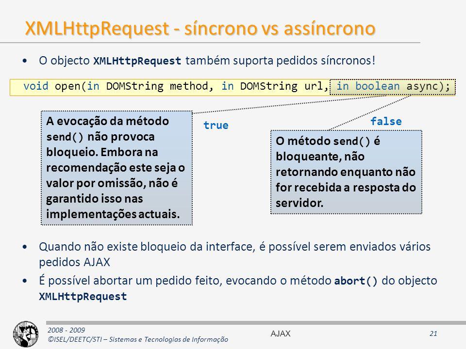 XMLHttpRequest - síncrono vs assíncrono