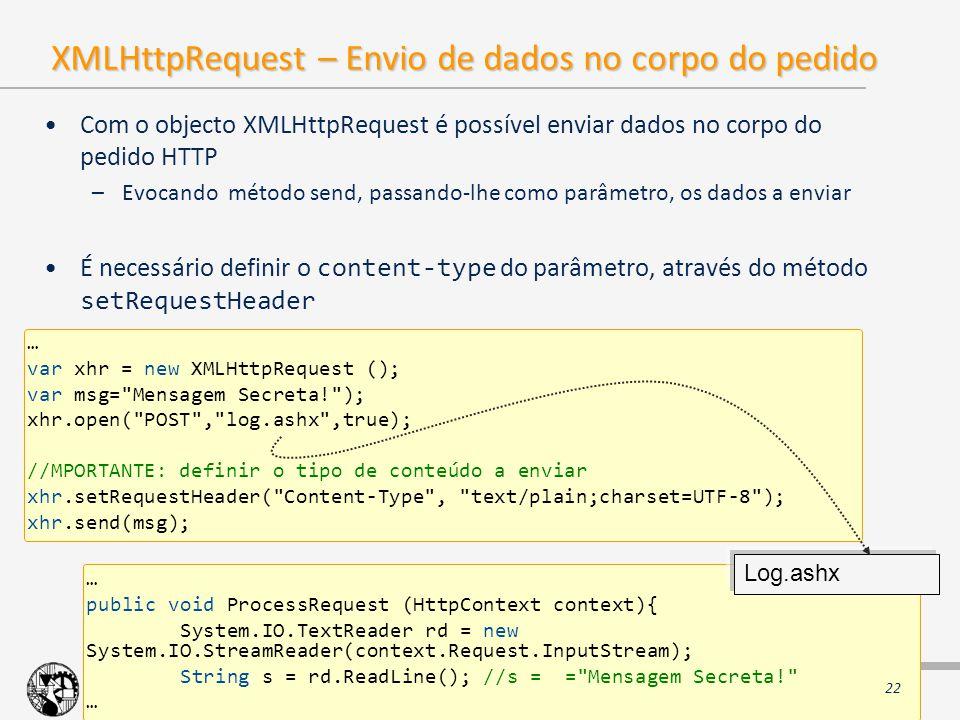 XMLHttpRequest – Envio de dados no corpo do pedido