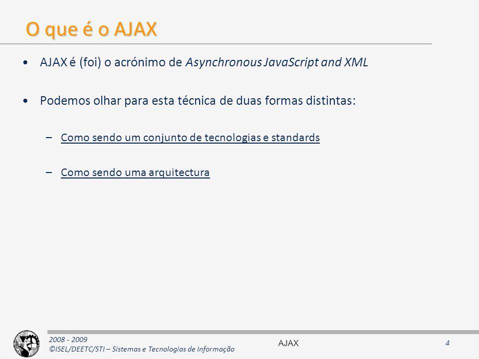 O que é o AJAX AJAX é (foi) o acrónimo de Asynchronous JavaScript and XML. Podemos olhar para esta técnica de duas formas distintas: