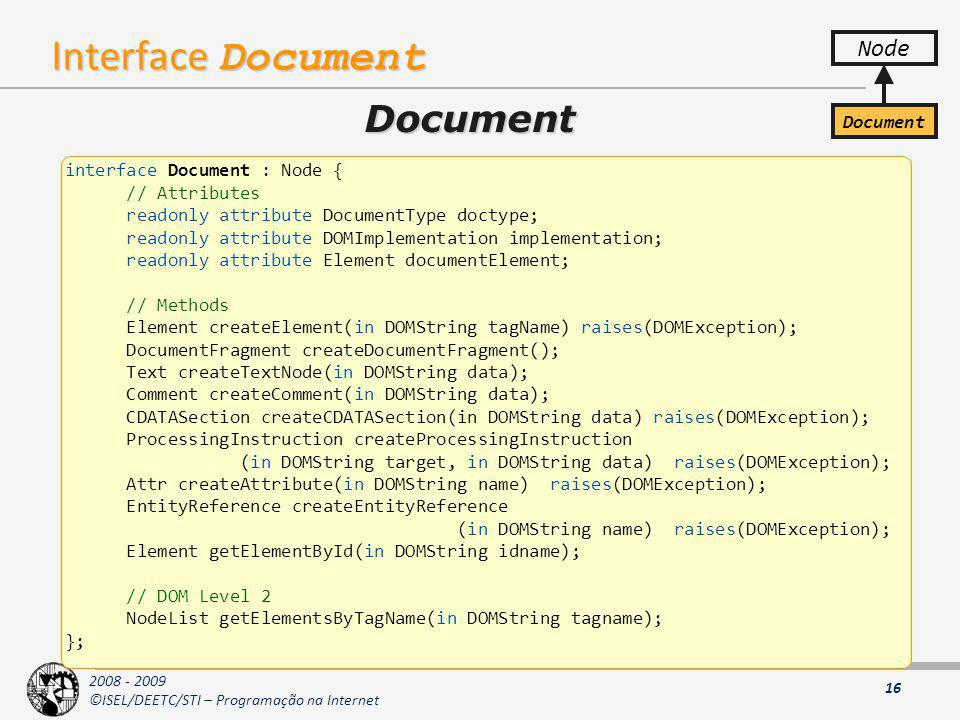 Interface Document Document Node Document interface Document : Node {