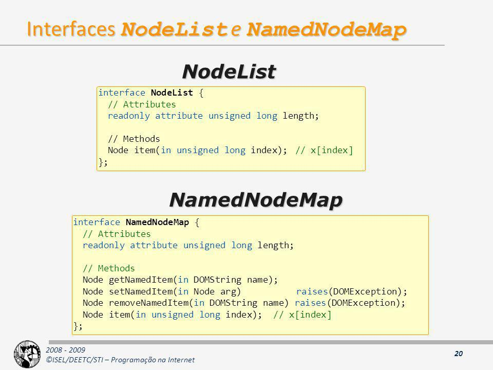 Interfaces NodeList e NamedNodeMap