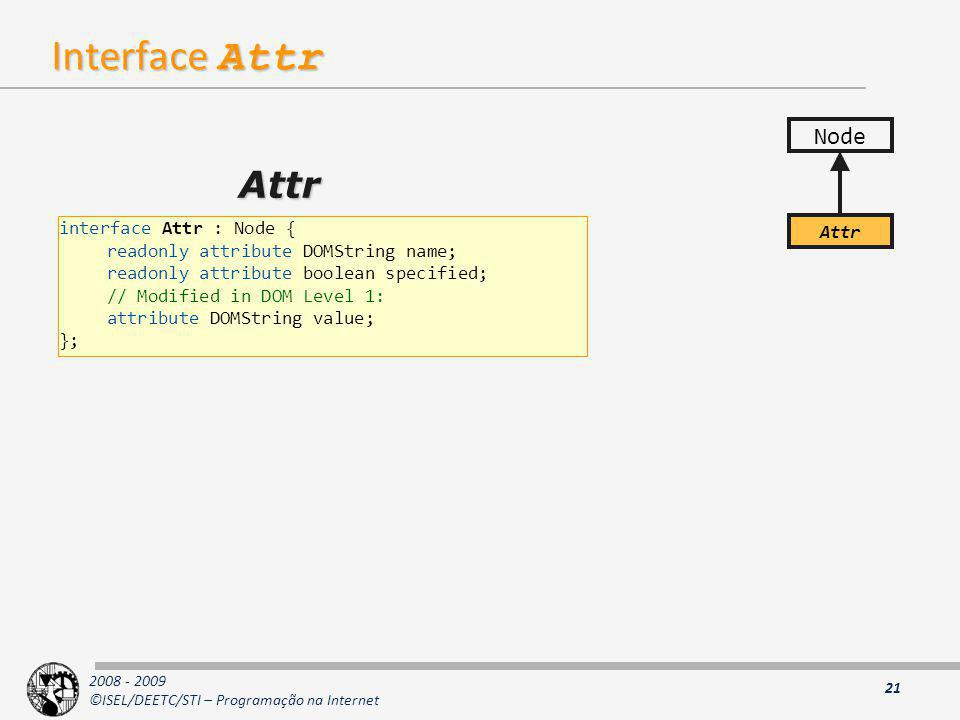 Interface Attr Attr Node interface Attr : Node { Attr