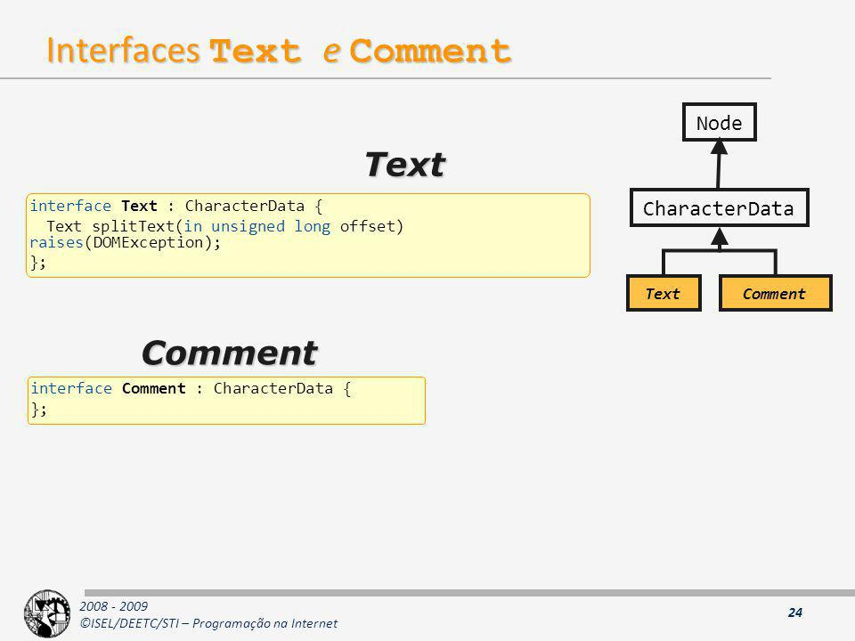 Interfaces Text e Comment