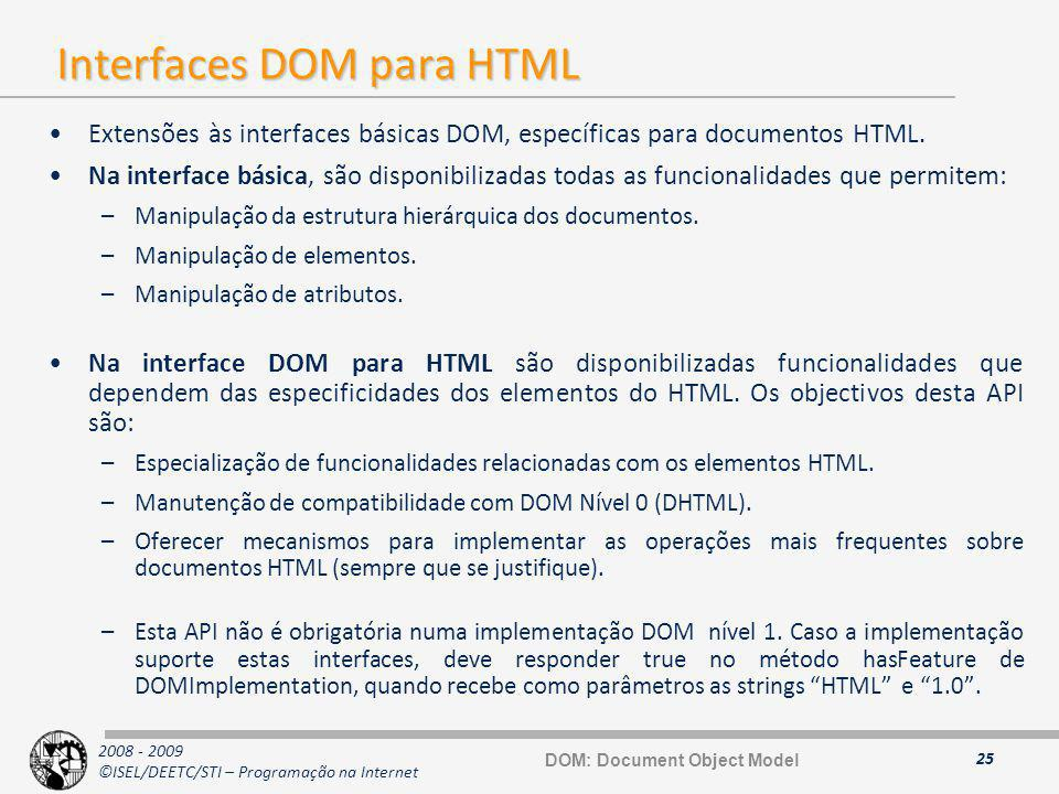 Interfaces DOM para HTML