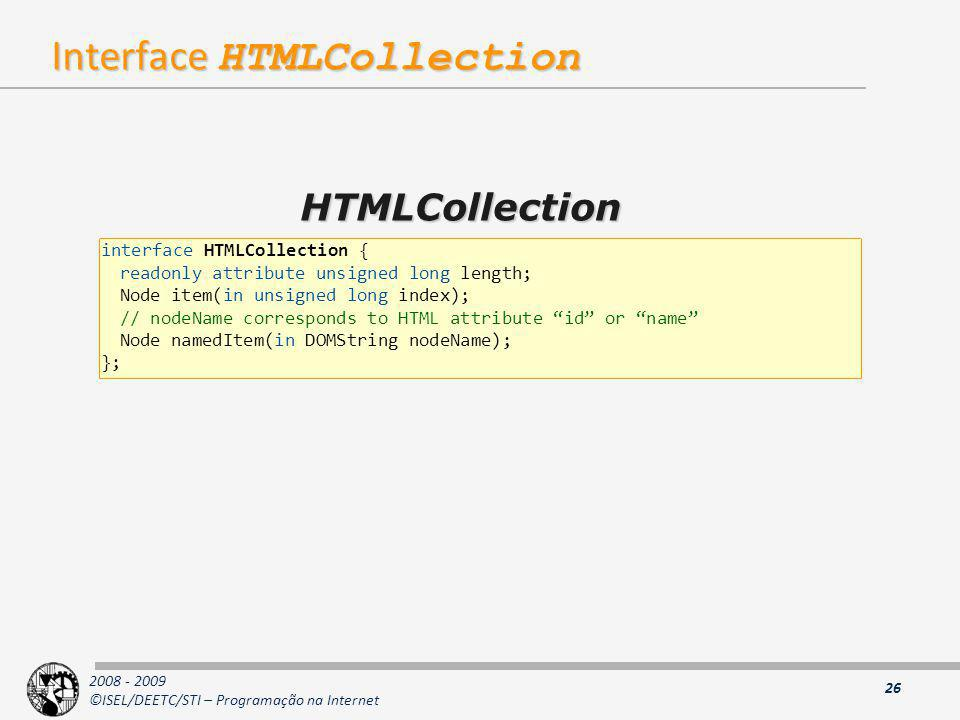 Interface HTMLCollection
