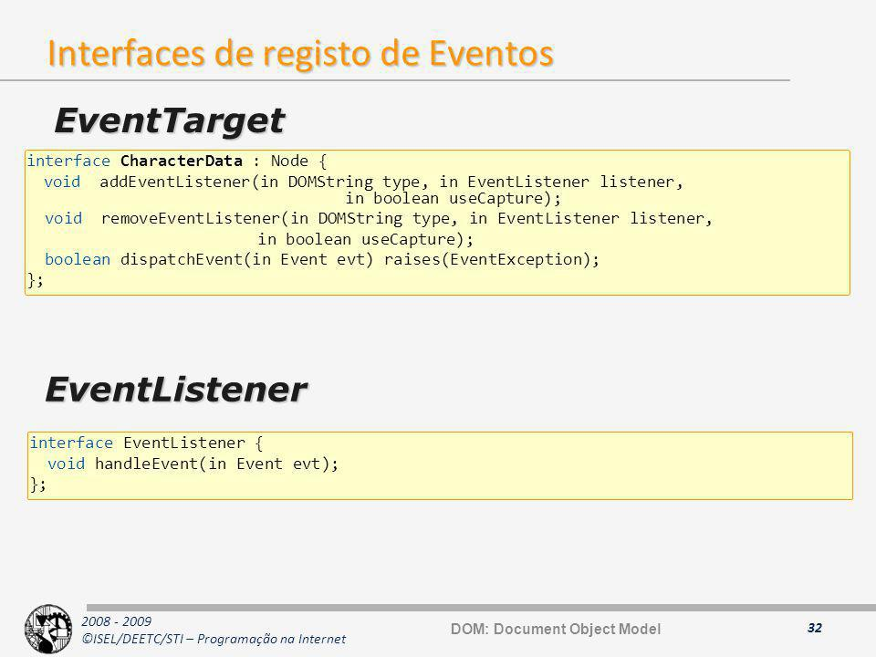 Interfaces de registo de Eventos