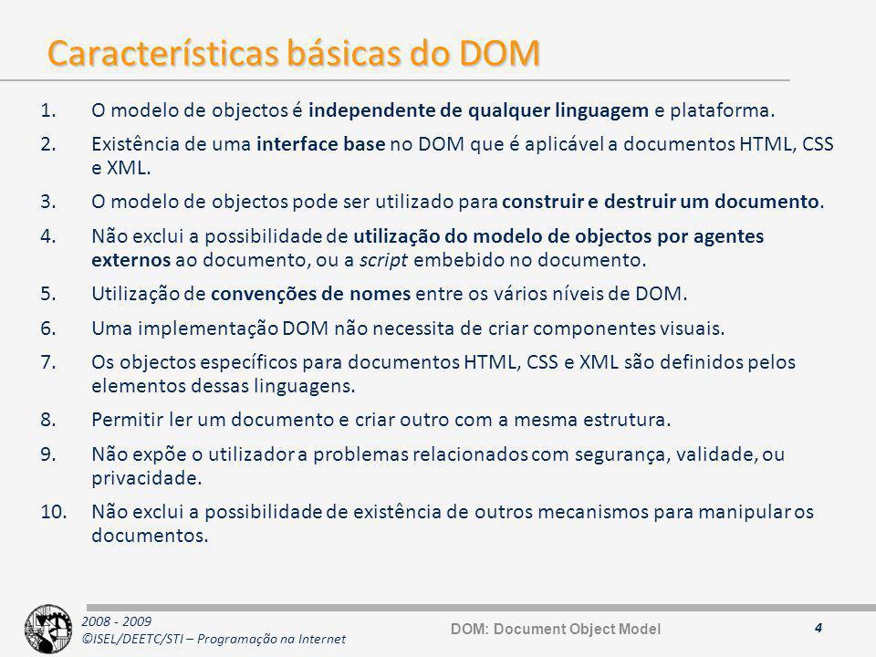 Características básicas do DOM