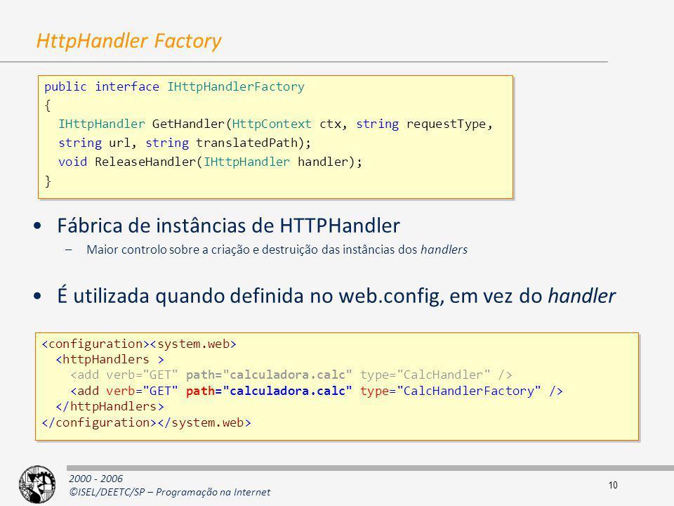 Fábrica de instâncias de HTTPHandler
