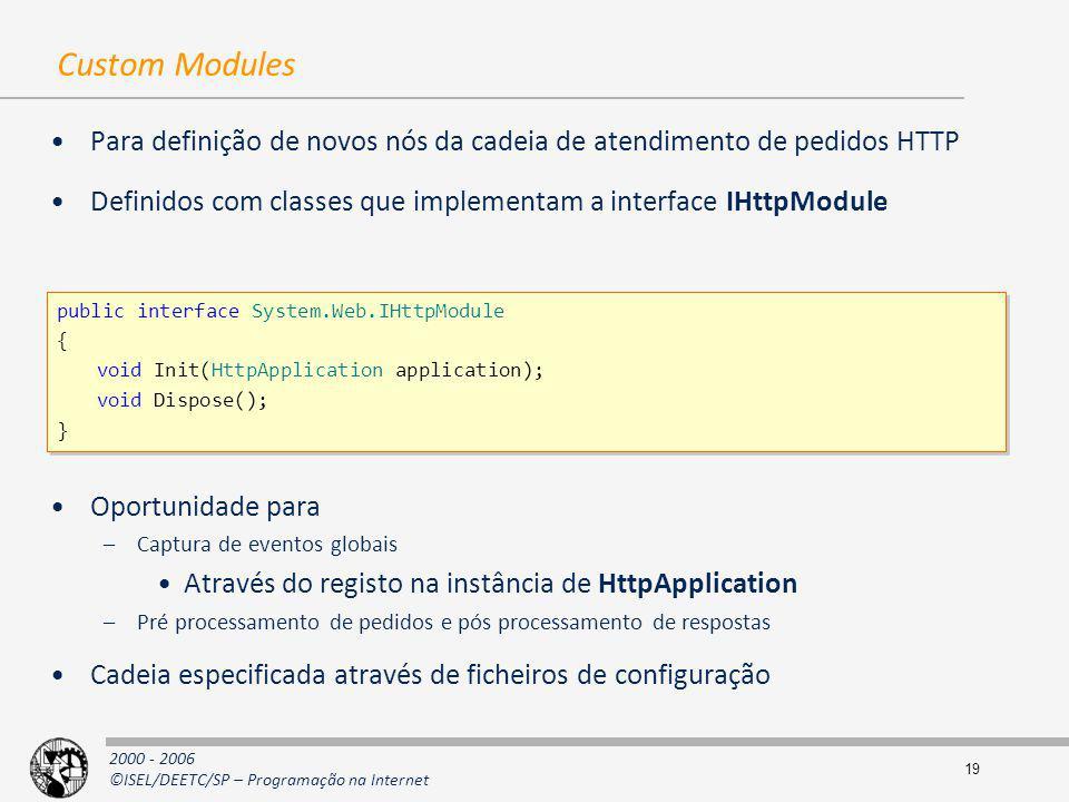 Custom Modules Para definição de novos nós da cadeia de atendimento de pedidos HTTP. Definidos com classes que implementam a interface IHttpModule.