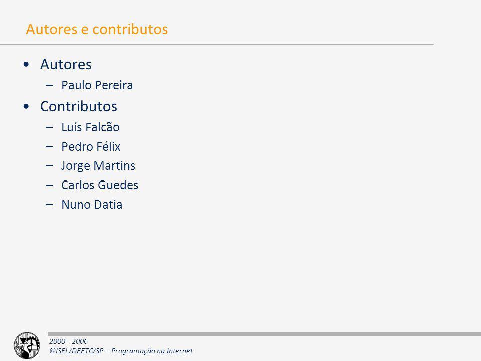 Autores e contributos Autores Contributos Paulo Pereira Luís Falcão