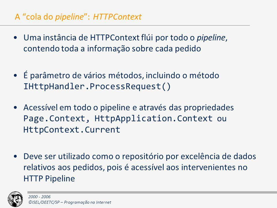 A cola do pipeline : HTTPContext