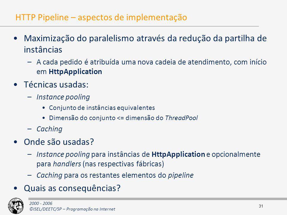 HTTP Pipeline – aspectos de implementação