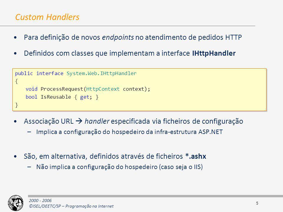 Custom Handlers Para definição de novos endpoints no atendimento de pedidos HTTP. Definidos com classes que implementam a interface IHttpHandler.