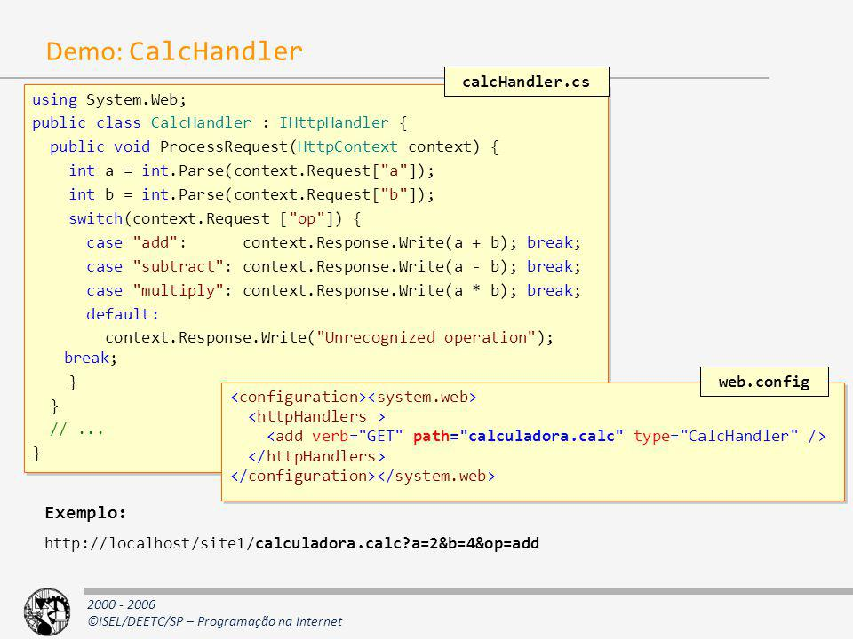 Demo: CalcHandler Exemplo: calcHandler.cs using System.Web;
