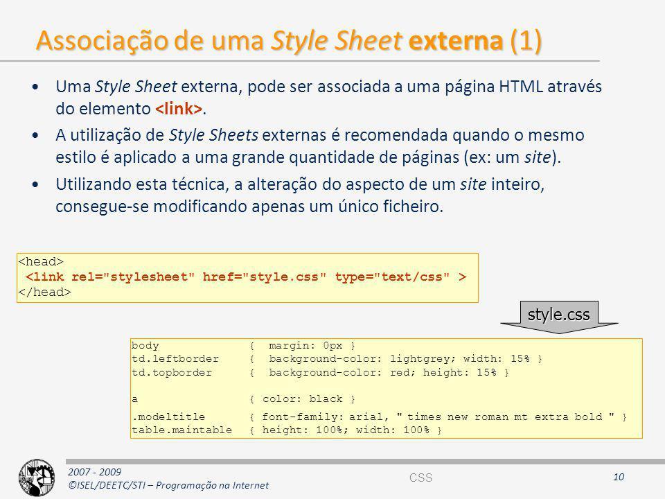 Associação de uma Style Sheet externa (1)