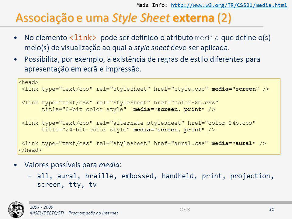 Associação e uma Style Sheet externa (2)