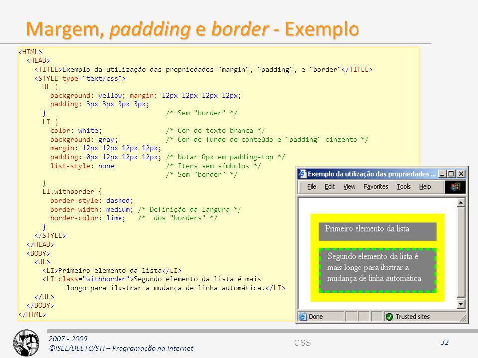 Margem, paddding e border - Exemplo