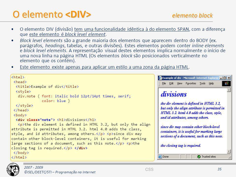 O elemento <DIV> elemento block