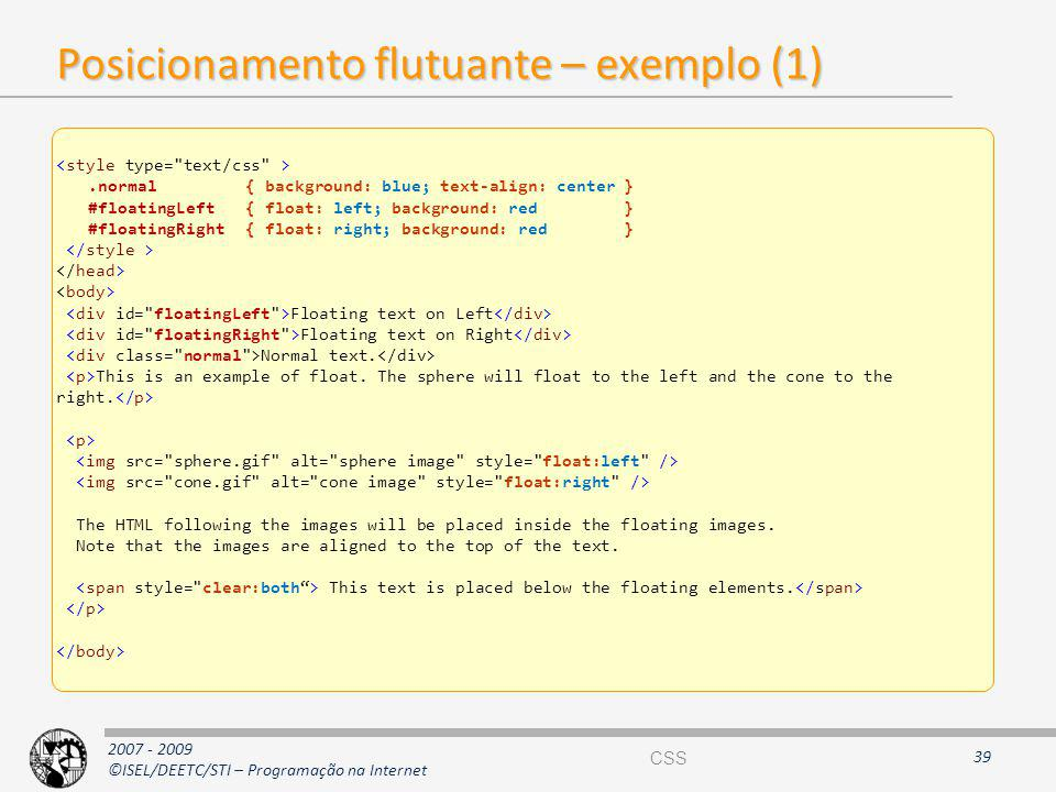 Posicionamento flutuante – exemplo (1)
