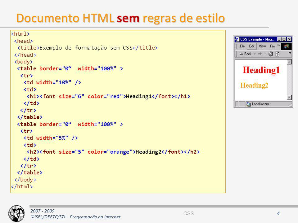 Documento HTML sem regras de estilo