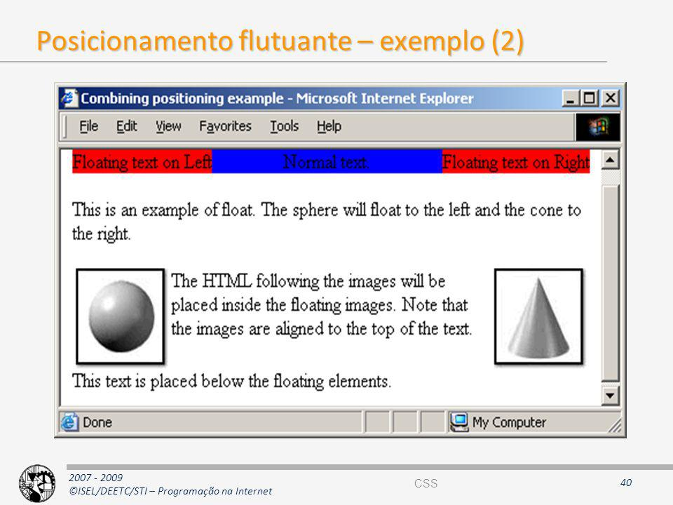 Posicionamento flutuante – exemplo (2)