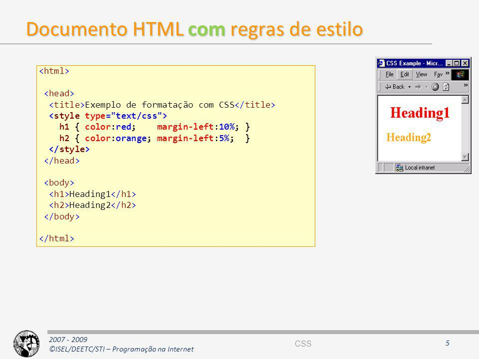 Documento HTML com regras de estilo