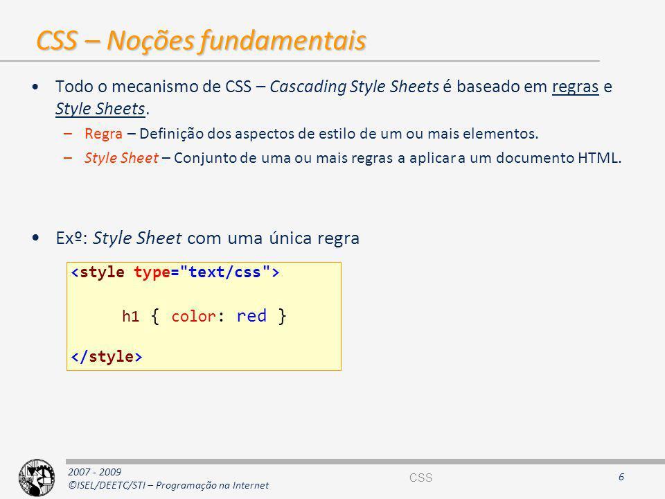 CSS – Noções fundamentais