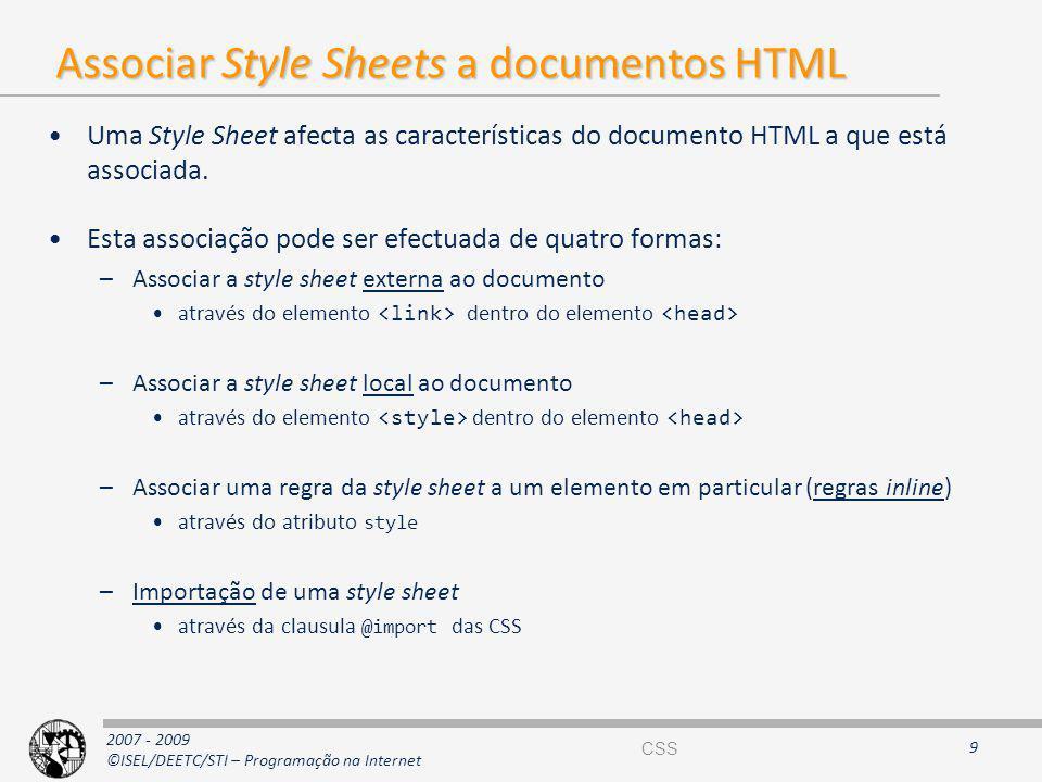 Associar Style Sheets a documentos HTML