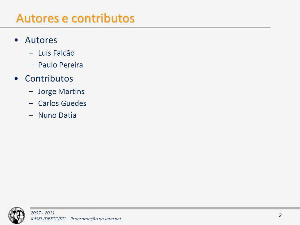 Autores e contributos Autores Contributos Luís Falcão Paulo Pereira