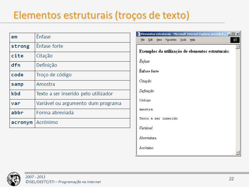 Elementos estruturais (troços de texto)