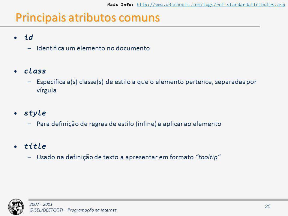Principais atributos comuns