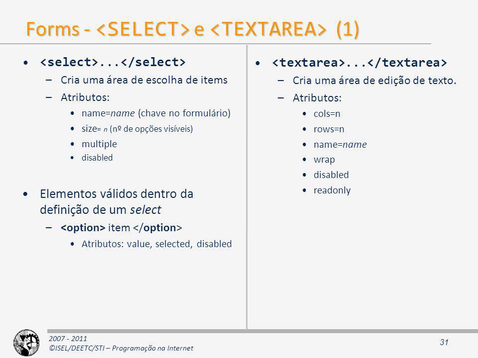 Forms - <SELECT> e <TEXTAREA> (1)
