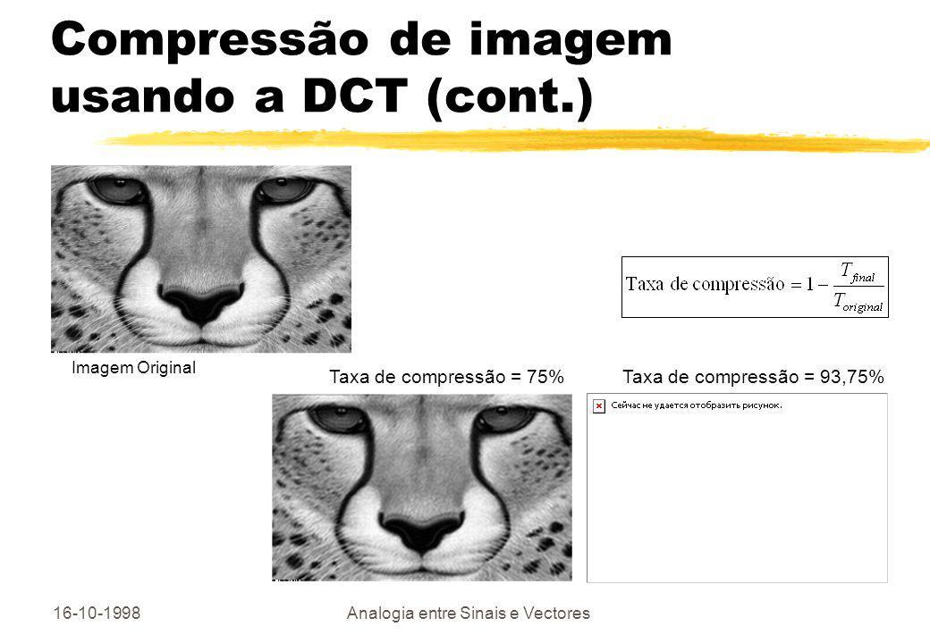 Compressão de imagem usando a DCT (cont.)