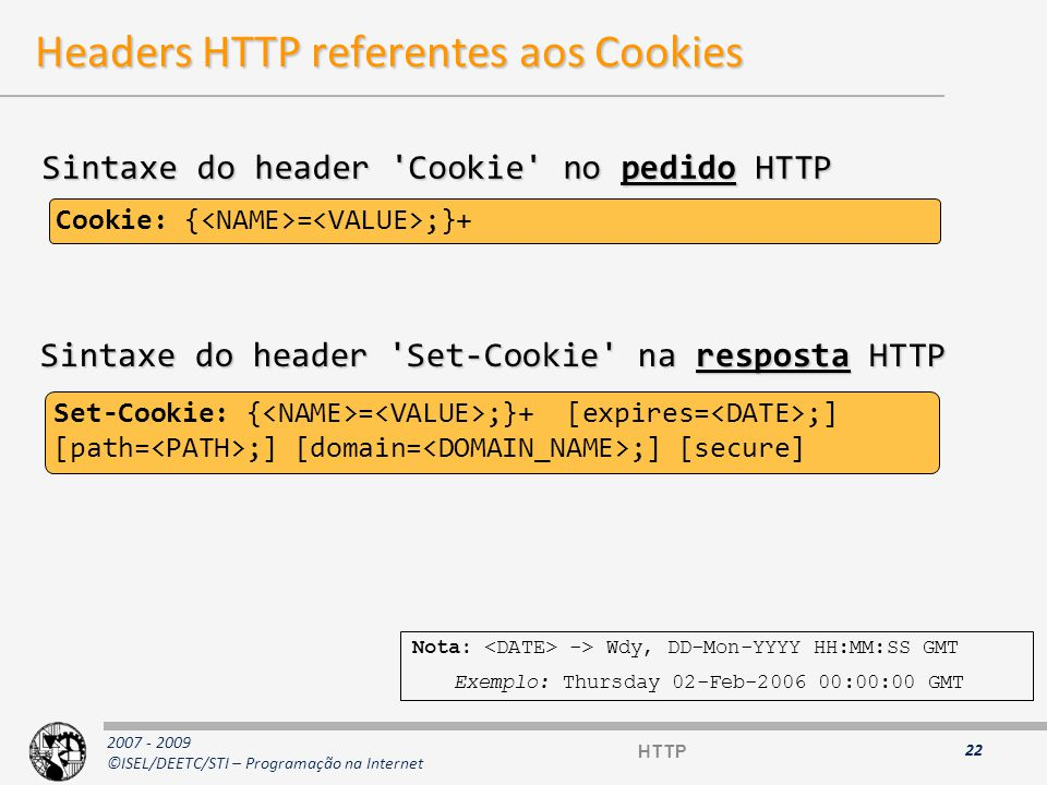 Headers HTTP referentes aos Cookies