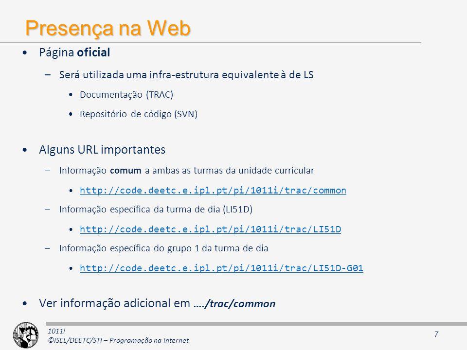 Presença na Web Página oficial Alguns URL importantes