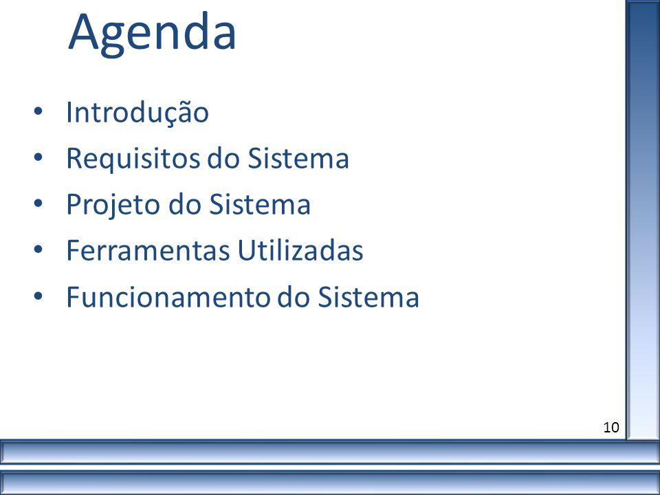 Agenda Introdução Requisitos do Sistema Projeto do Sistema