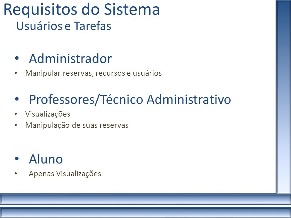 Requisitos do Sistema Administrador Professores/Técnico Administrativo
