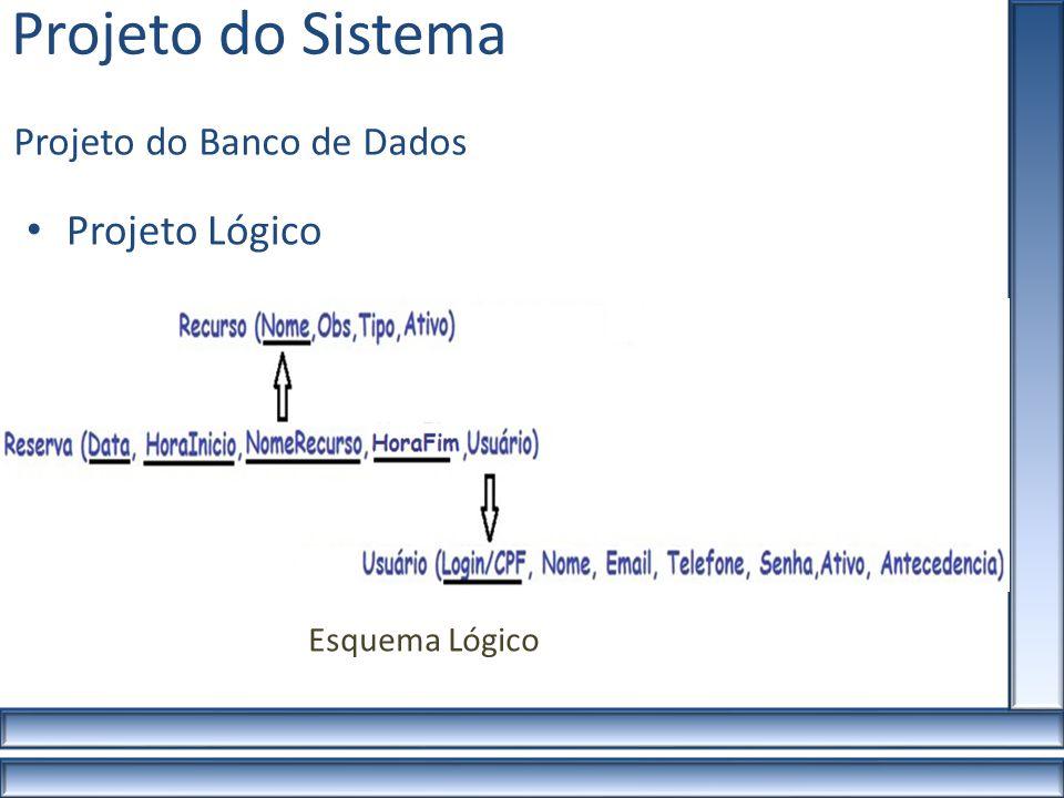 Projeto do Sistema Projeto Lógico Projeto do Banco de Dados