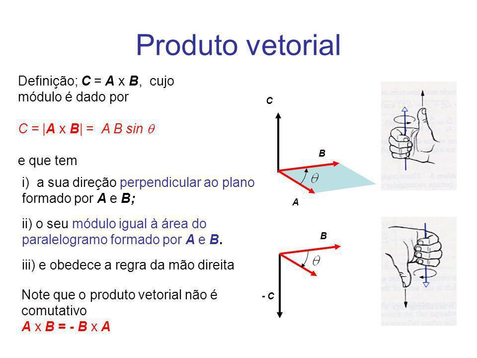 Produto vetorial Definição; C = A x B, cujo módulo é dado por