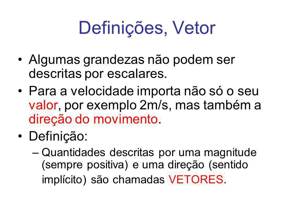 Definições, Vetor Algumas grandezas não podem ser descritas por escalares.