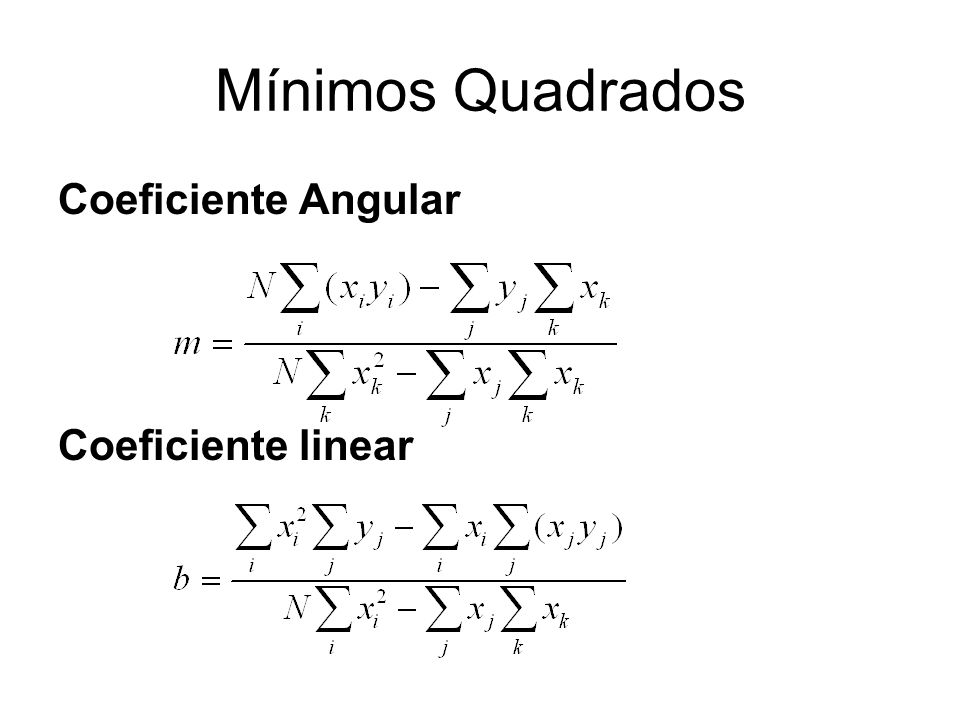 Mínimos Quadrados Coeficiente Angular Coeficiente linear