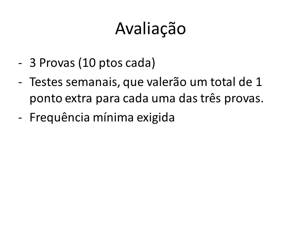 Avaliação 3 Provas (10 ptos cada)