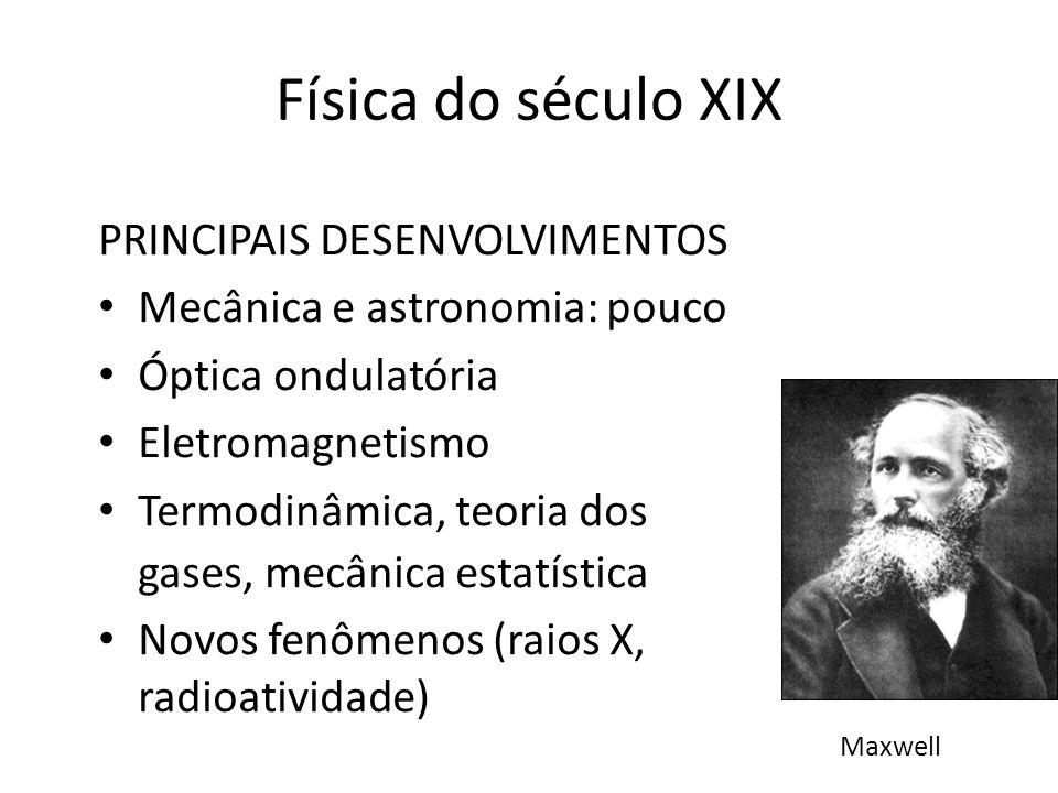 Física do século XIX PRINCIPAIS DESENVOLVIMENTOS