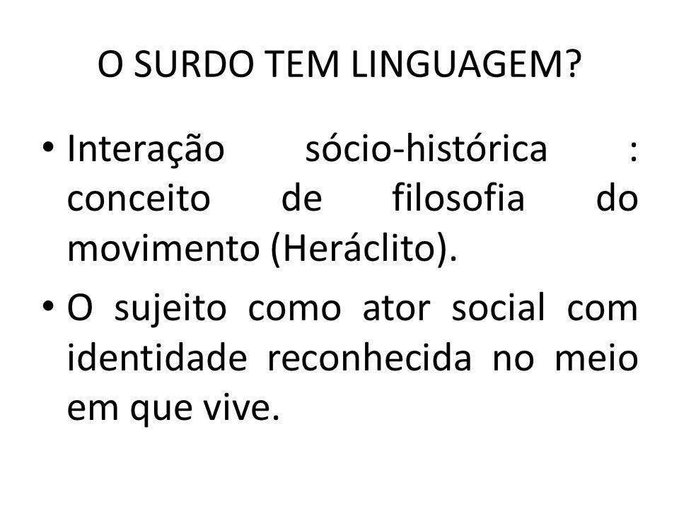 O SURDO TEM LINGUAGEM Interação sócio-histórica : conceito de filosofia do movimento (Heráclito).
