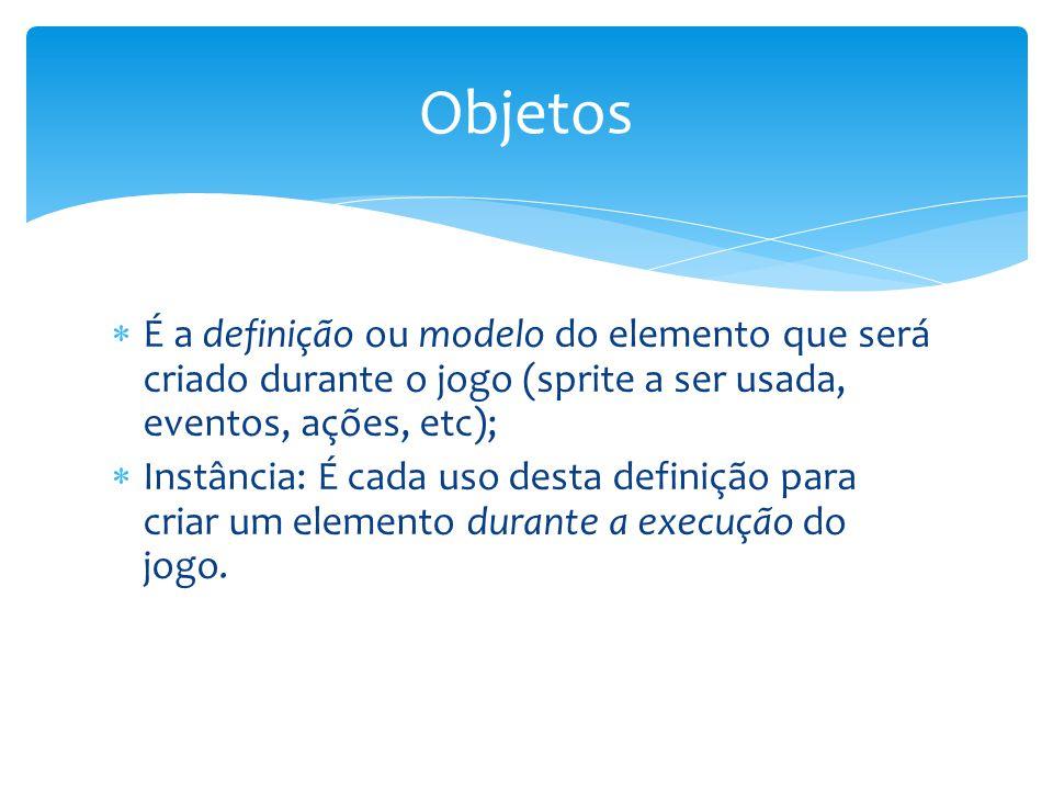 Objetos É a definição ou modelo do elemento que será criado durante o jogo (sprite a ser usada, eventos, ações, etc);