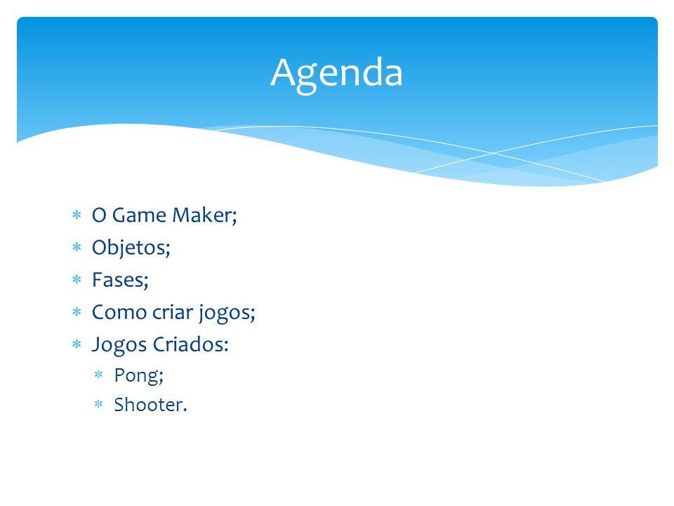 Agenda O Game Maker; Objetos; Fases; Como criar jogos; Jogos Criados: