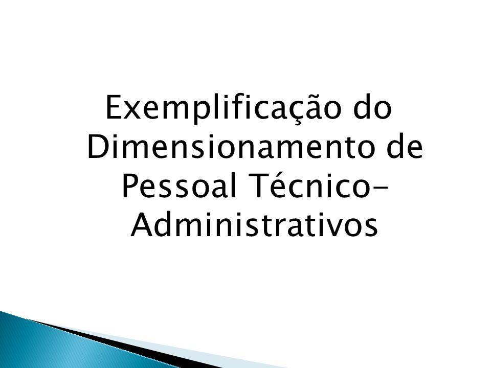 Exemplificação do Dimensionamento de Pessoal Técnico- Administrativos